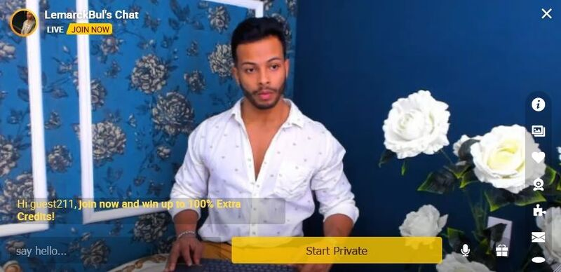 Gorgeous Latin model flirting with his guests on the mobile version of CameraBoys