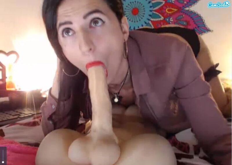 Screenshot of Camsoda model blowing one of her fun toys