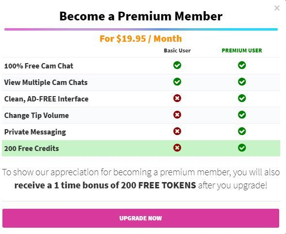 CamSoda Premium Incentives - Screenshot