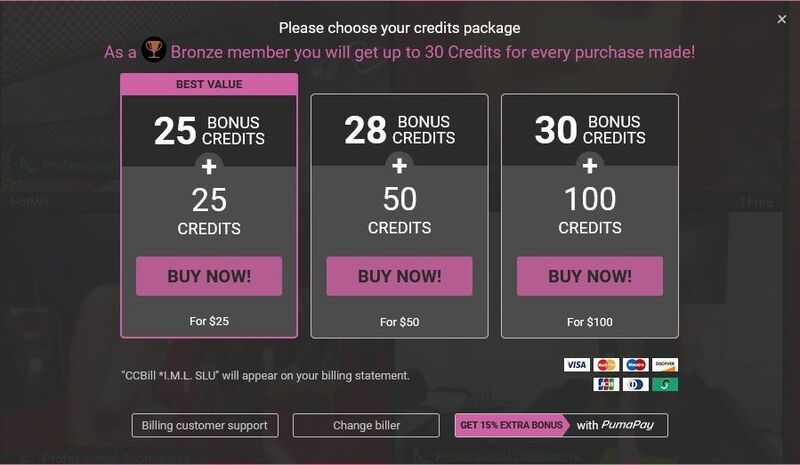 Credit bundles available for purchase on FetishGalaxy