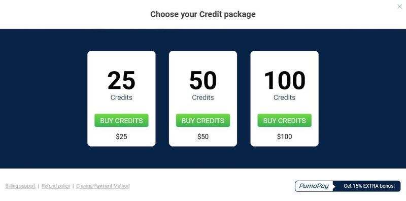 Credit packages ImLive.com
