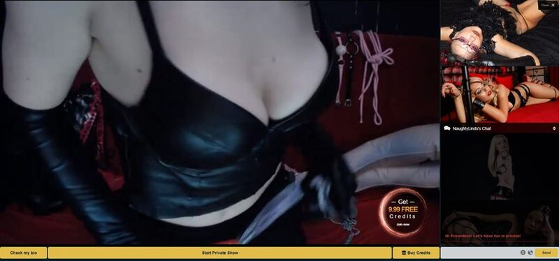 One of MyCams.com's fetish webcam girls, showing us the ropes, as it were.