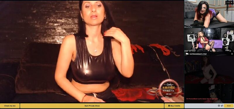 One of MyCams.com's fetish webcam girls showing off her pvc tanktop.